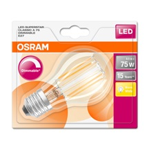 OSRAM LED SUPERSTAR CL A Filament 8,5W 827 E27 1055lm 2700K (CRI 80) 15000h A++ DIM (Blistr 1ks)