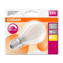 OSRAM LED SUPERSTAR CL A GL Fros. 3W 827 E27 250lm 2700K (CRI 80) 15000h A+ DIM (Blistr 1ks)