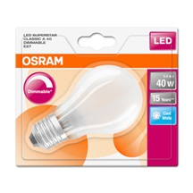 OSRAM LED SUPERSTAR CL A GL Fros. 5W 840 E27 470lm 4000K (CRI 80) 15000h A+ DIM (Blistr 1ks)