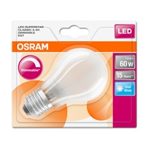 OSRAM LED SUPERSTAR CL A GL Fros. 7W 840 E27 806lm 4000K (CRI 80) 15000h A+ DIM (Blistr 1ks)