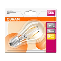 OSRAM LED STAR CL A Filament 2,5W 827 E27 250lm 2700K (CRI 80) 15000h A++ (Blistr 1ks)